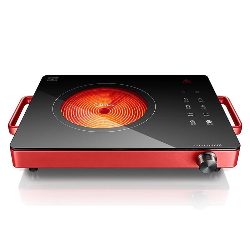 美的Midea 双圈电陶炉赠烤盘 无辐射不挑锅H21-HST2105