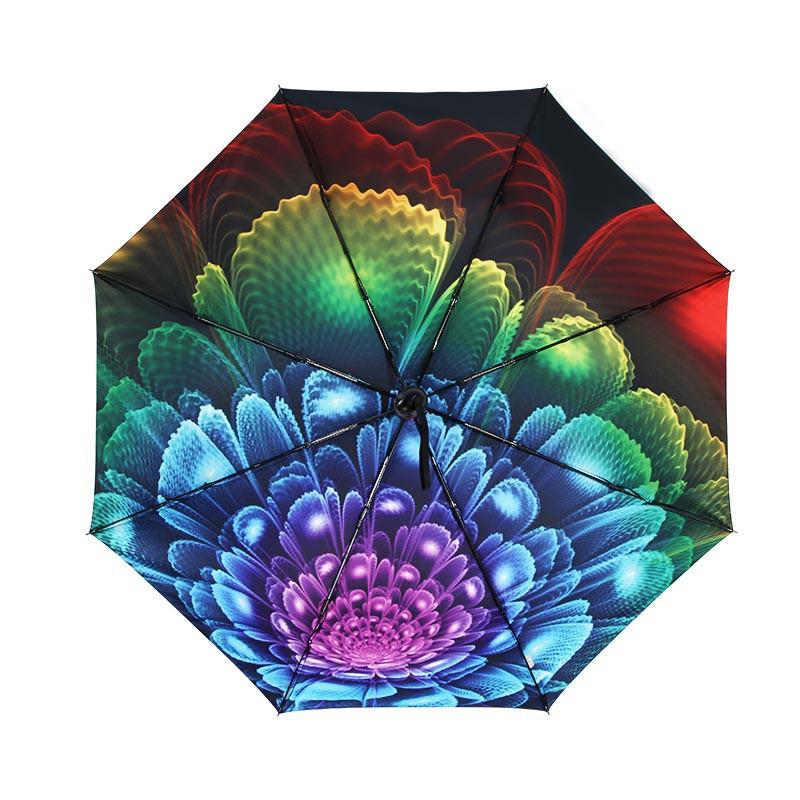 天堂伞 黑胶防紫外线晴雨自动三折伞 炫光