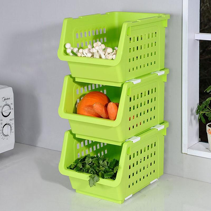 宝优妮 厨房果蔬收纳筐三件组 9049-1·绿/多色