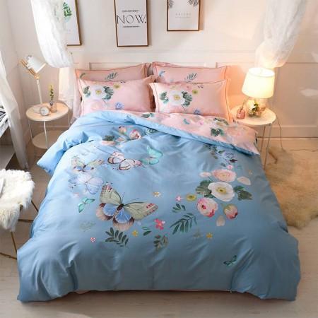 天绚 欧式大版印花匹马棉床品四件套-春色蝶舞200*230cm·春色蝶舞