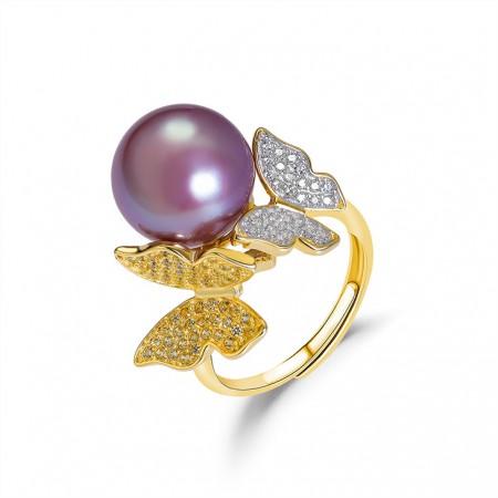安妮比翼双飞S925银紫珠戒指