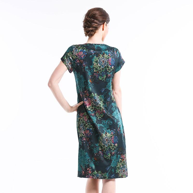 恒源祥Fazeya 绿野仙踪桑蚕丝桑波缎长裙8011·绿色
