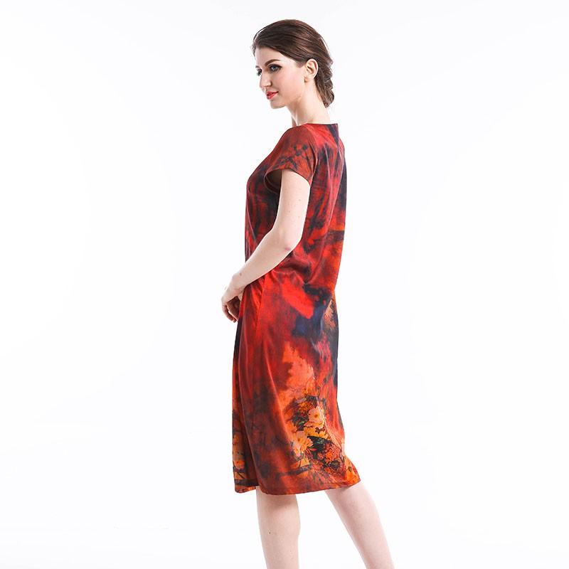恒源祥Fazeya 绿野仙踪桑蚕丝桑波缎长裙8012·红色