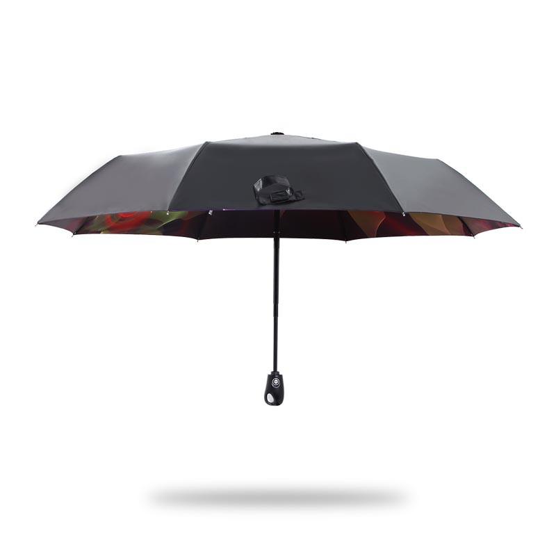 天堂伞 黑胶防紫外线晴雨两用三折伞 炫丽