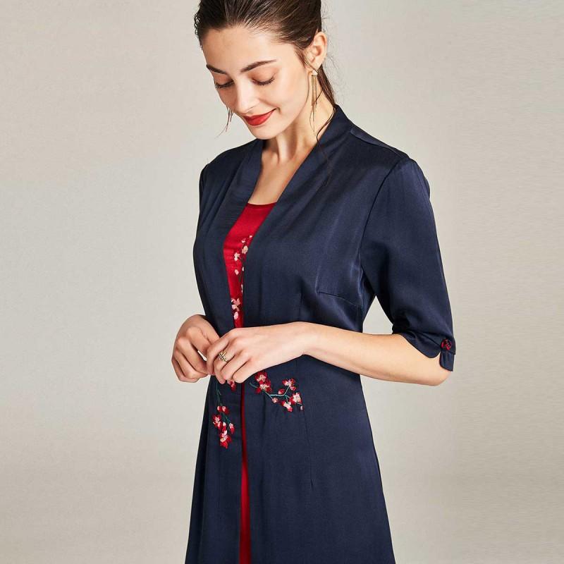 漫丽依 2018夏季真丝重工刺绣修身五分袖中长款女连衣裙(假两件)zs18066·藏青色