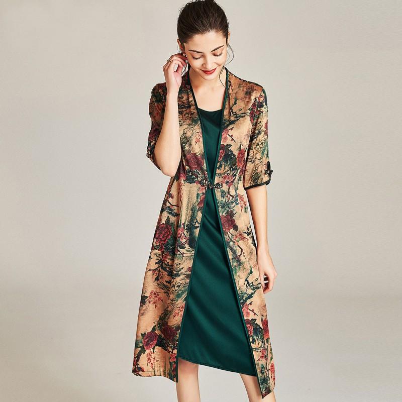 漫丽依 2018夏季真丝时尚复古五分袖中长款女连衣裙(假两件)zs18026·红色