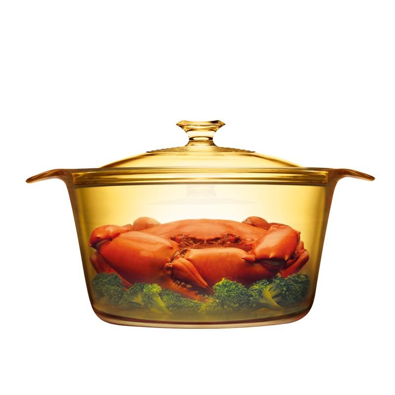 美国康宁(VISIONS)5.5L汤锅直径25CM晶彩透明锅
