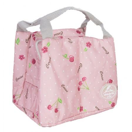 宝优妮 午餐饭盒保温袋防水手提包DQ9003系列·樱桃粉