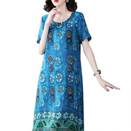 丁摩 短袖圆领真丝连衣裙印花收腰长裙子·蓝色