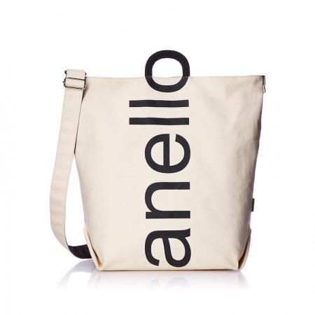 日本直邮 anello 2WAY 反色商标2用大手提包/单肩挎包 帆布休闲包·白