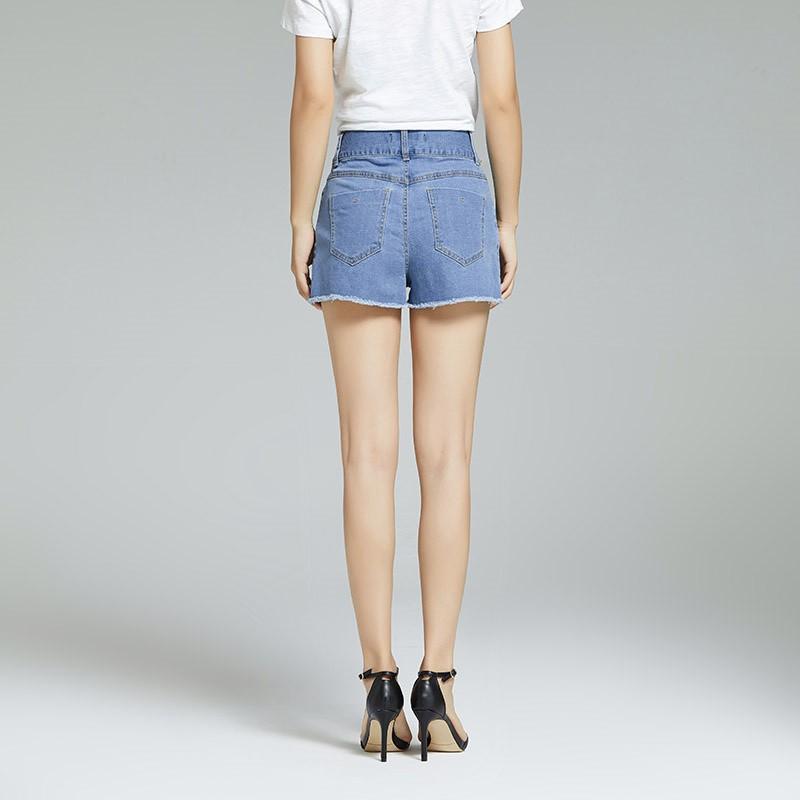 Blue&Joe韩版夏季腰部毛边前后不规则牛仔短裤·浅蓝色;清仓处理不退不换