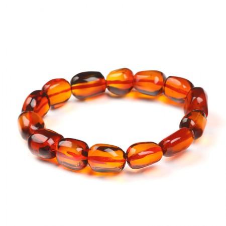 满记天然血珀净水樱桃红收藏级随形手链约13.76克
