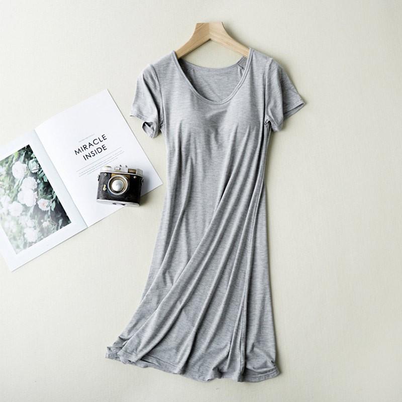 SEERUU适语 莫代尔Bra-T短袖家居连衣裙两件组·黑色+麻灰色  两色