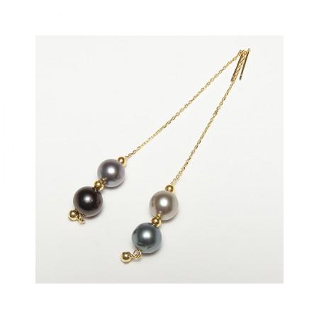 Vermeer 随心系列大溪地海水珍珠耳线8-10mm18K金·黑色