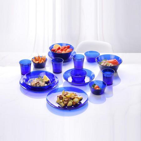 法国Duralex多莱斯 欧式餐具四人15件套·宝蓝色  宝蓝色
