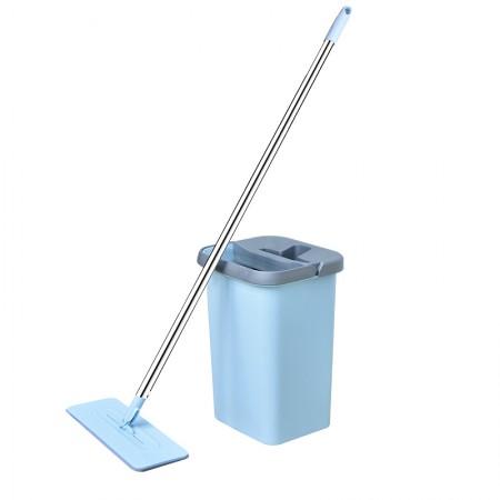 吉优百 简约免手洗平板刮刮乐懒人拖把·淡蓝色