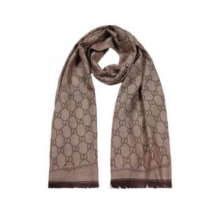 GUCCI经典双面钻石纹提花羊毛围巾·咖色