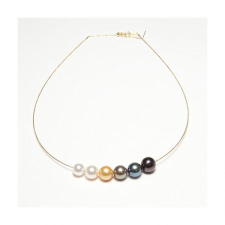 Vermeer 18K金AKOYA&大溪地&南洋海水珍珠渐变色项链·混彩