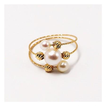 Vermeer 18K金日本AKOYA海水珍珠弹力戒指3-6.5mm·白色