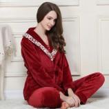 秋冬法兰绒女士法兰绒套装·红色