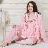 秋冬法兰绒女士法兰绒套装·粉色