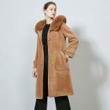 皮尔卡丹狐狸毛领直筒羊毛大衣-8087-驼色·驼色
