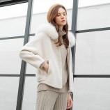 皮尔卡丹狐狸毛领短款修身羊毛大衣-8091-米白·米白色