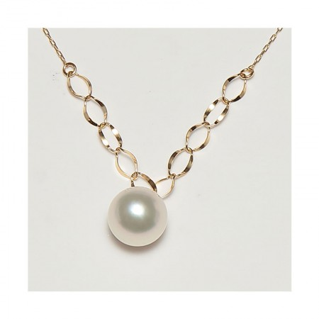 Vermeer 18K金日本AKOYA海水珍珠单珠项链8-8.5mm(8917)