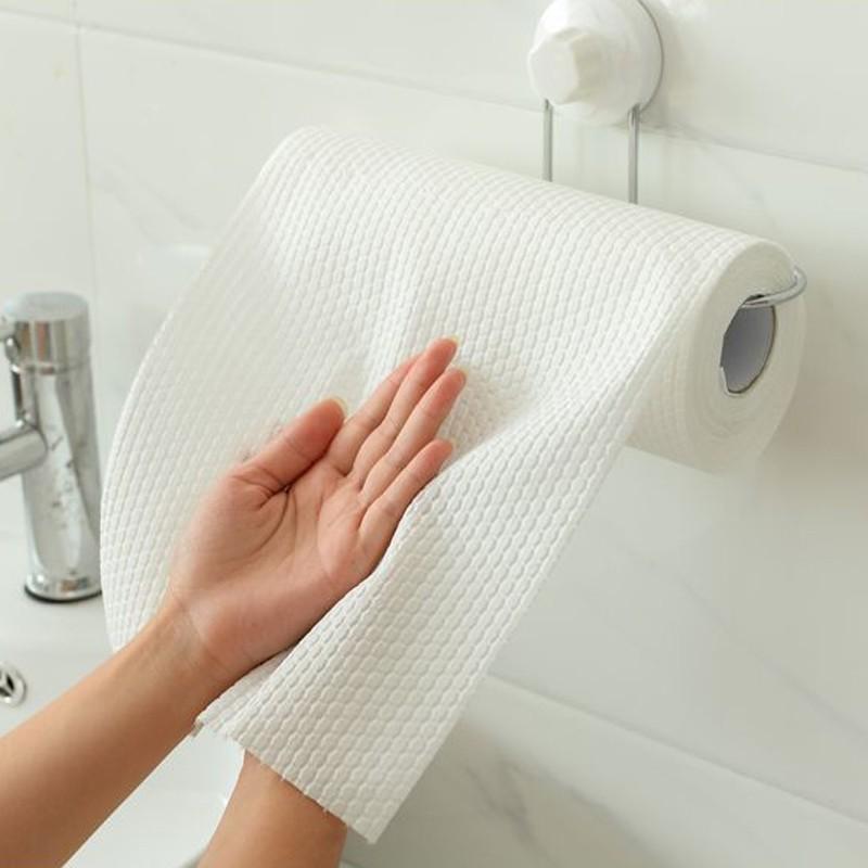 厨房一次性抹布不沾油吸水清洁家务家用纤维保洁懒人免洗*6卷·白色