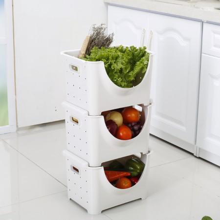 [JM]韩版多用途可叠加果蔬收纳筐三件装