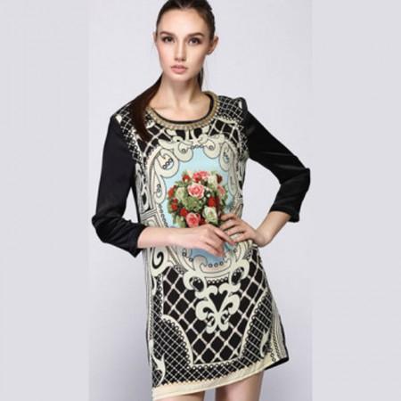 Shillway巴黎玫瑰 重磅真丝印花连衣裙·黑