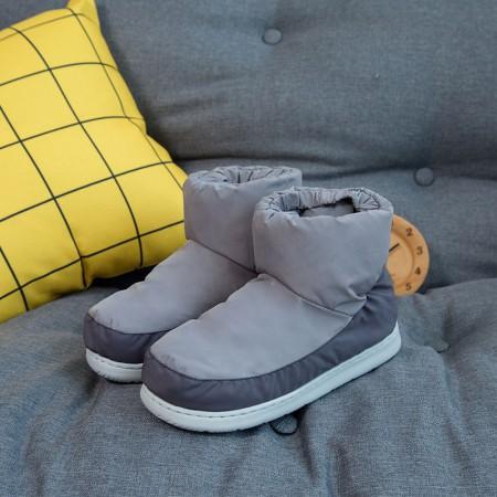 羽绒鞋冬季保暖休闲室内棉鞋情侣防滑高帮男女棉鞋·灰色