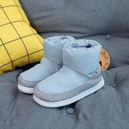 羽绒鞋冬季保暖休闲室内棉鞋情侣防滑高帮男女棉鞋·蓝色