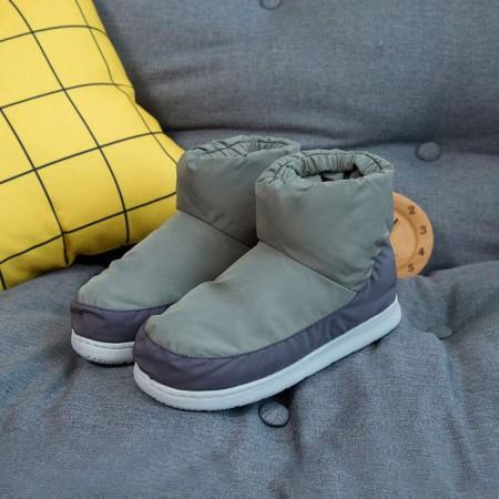 羽绒鞋冬季保暖休闲室内棉鞋情侣防滑高帮男女棉鞋·卡其色