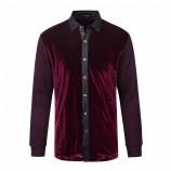 莱恩雷迪含羊毛加厚舒适拼接经典款商务休闲长袖男式衬衫720320962·紫红色