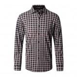莱恩雷迪莫代尔棉翻领气质格纹商务休闲长袖男式衬衫720323314·咖格
