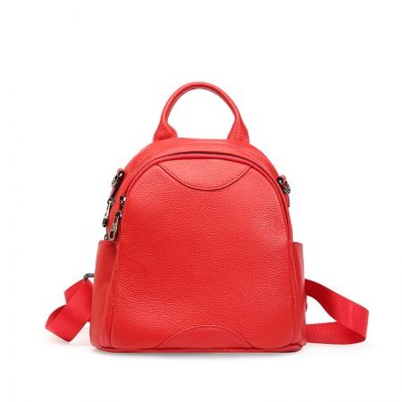 搭歌新款双肩包女包韩版百搭小圆包头层牛皮时尚小背包0976·大红