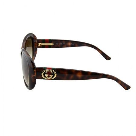GUCCI经典双G红绿织带太阳镜·棕色