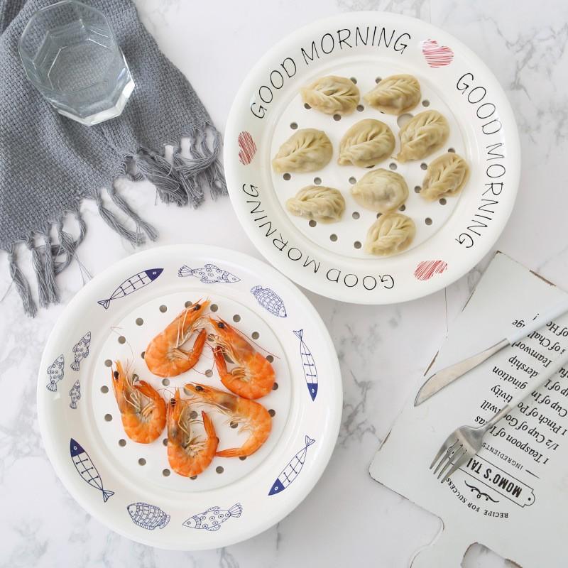 双层沥水陶瓷餐具圆形家用大号饺子餐盘深菜盘蒸鱼盘两只装·蓝线鱼B