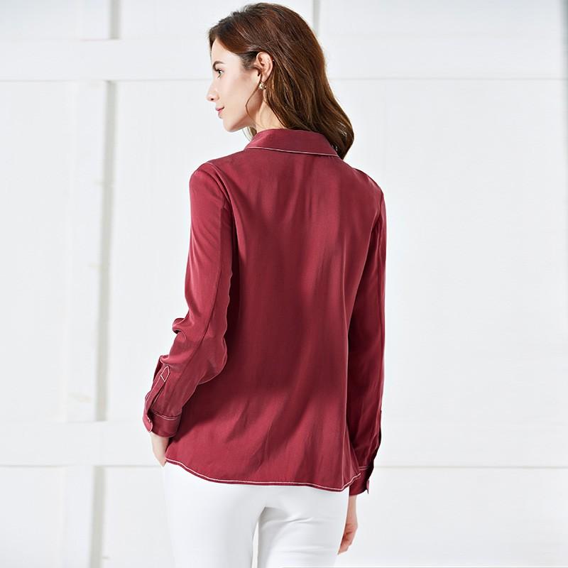 墨枝 气质百搭衬衫(S9006671)·复古酒红