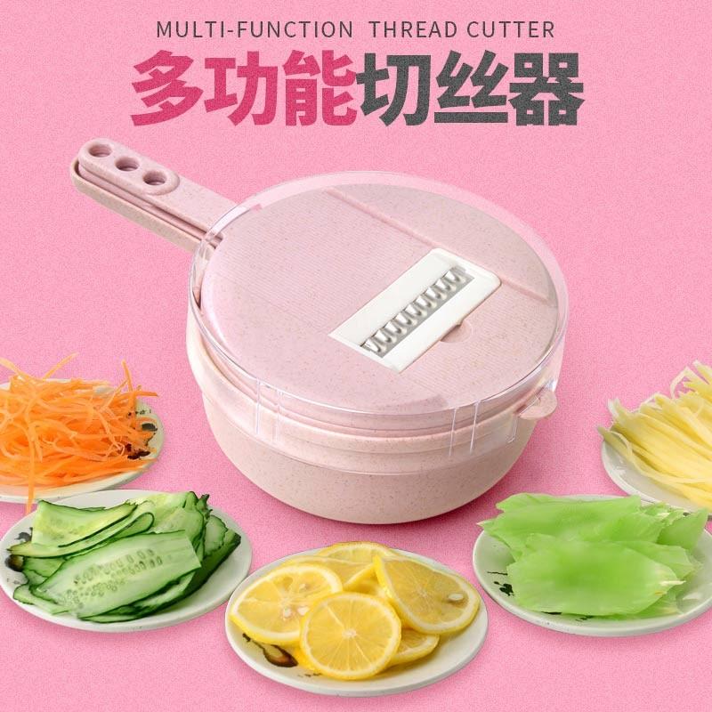 美之扣 厨房切菜神器土豆丝切丝器神器家用刨丝器多功能切菜器·粉红色