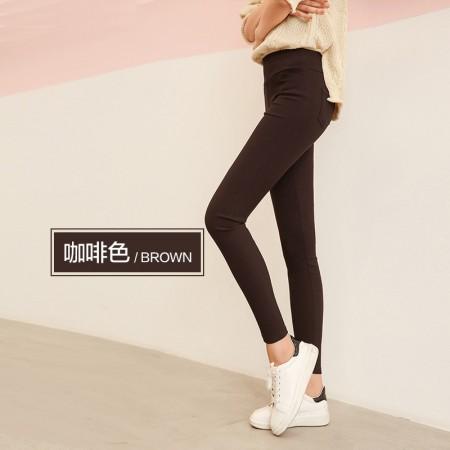 俞兆林女士外穿纯色打底裤超弹中高腰小脚裤 简约百搭必备款(90-150斤可穿)·咖啡色  咖啡色