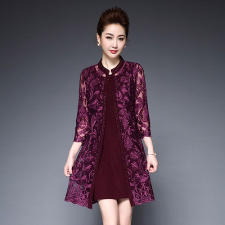 玉露浓重工两件套网纱刺绣烫钻大码连衣裙Y6055·紫红色