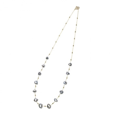 Vermeer 14K金无核大溪地海水珍珠项链5-6mm (7357)·黑灰
