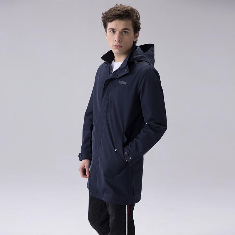Alpinepro男士连帽束腰风衣·藏青色