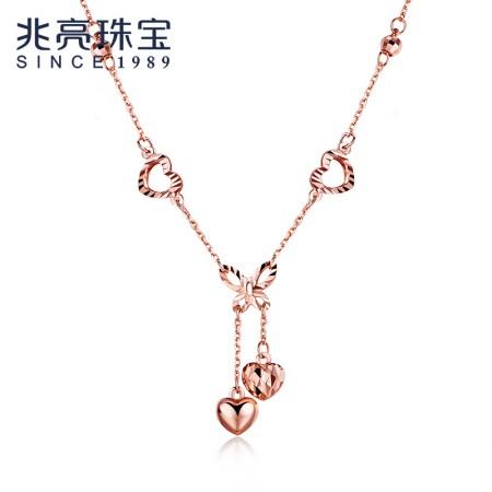 兆亮珠宝 一帘幽梦 18K金项链彩金项链玫瑰金au750套链