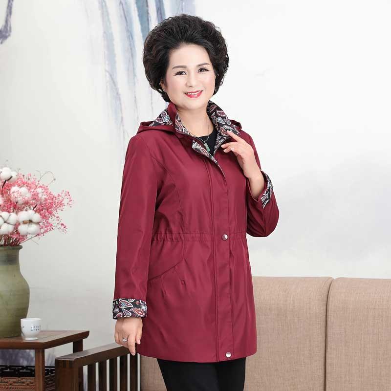 福太太女式连帽风衣·暗红色