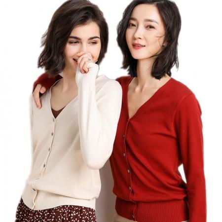 2019春款时尚百搭休闲针织开衫两件组·杏色+红色