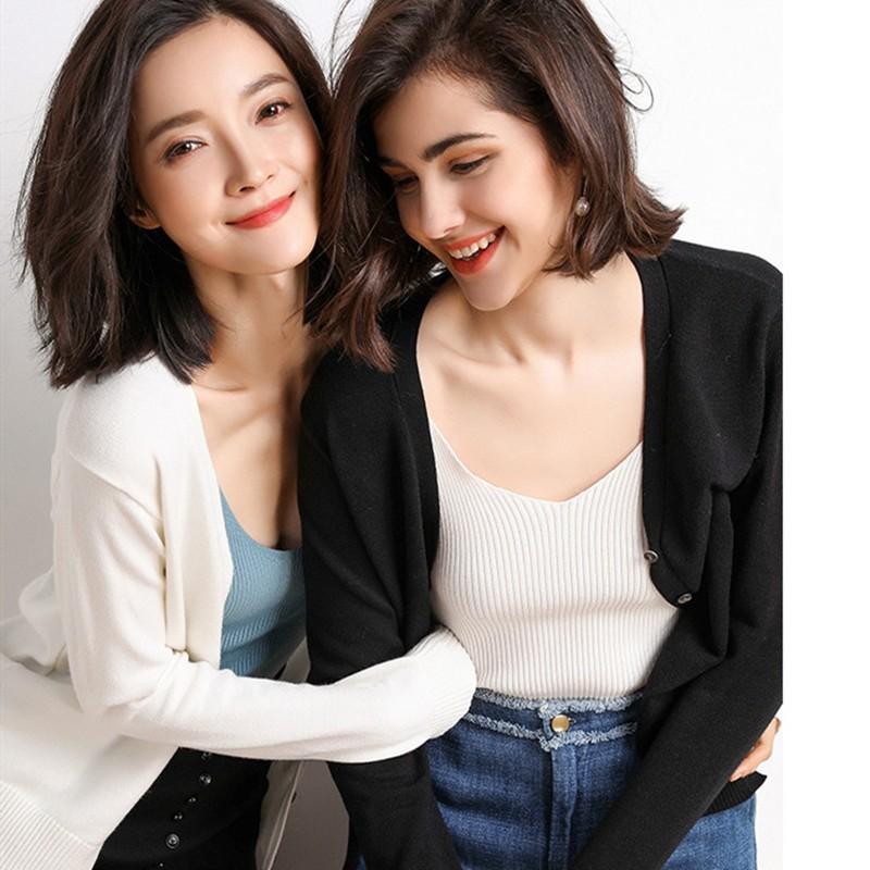 2019春款时尚百搭休闲针织开衫两件组·豆绿+皮粉