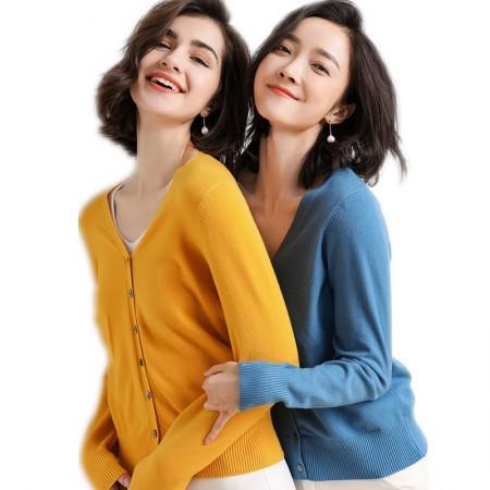 2019春款时尚百搭休闲针织开衫两件组·姜黄+雾霾蓝